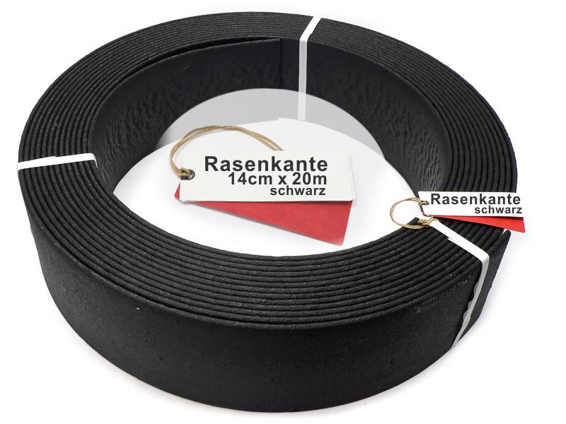 stabile Beeteinfassung Rasenkante Beetumrandung  14cm x 20m schwarz